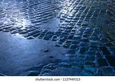 Wet stone pavement after the rain