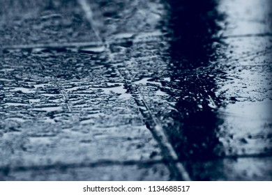 A wet tiles surface isolated unique background photo