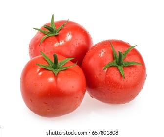 Wet tomatoes isolated on white background