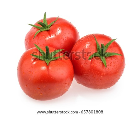 Wet tomatoes isolated on white background