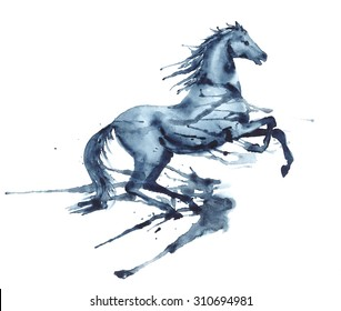 Wet watercolor rearing up horse with ink blots and stains on white. Hand drawing illustration of beautiful black stallion in motion.