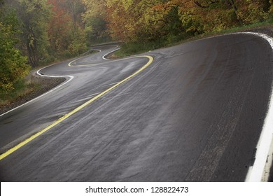Wet winding road in autumn with rising mist.