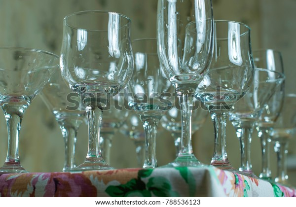 Wet Wine Glasses Set Banquet Restaurant Stock Photo (Edit ...