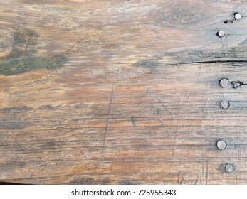 Wet wood background texture, Planks of wood damaged by the aging process. Vintage wood background texture with knots and nail holes,Nail tack.