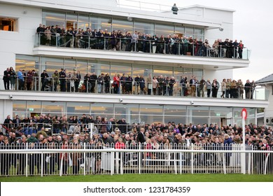WETHERBY RACECOURSE, NTH YORKSHIRE, UK : 3 November 2018 : The Grandstands are full at Wetherby Races during the Bet365 Charlie Hall Meeting