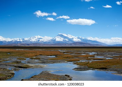 Wetland in front of the snow mountains