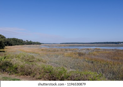 Wetlands and marsh area in Beaufort South Carolina, at low tide on a sunny day. Coastal carolinas low country area