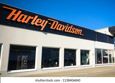 WETZLAR Dutenhofen, Germany, March 25, 2018: Harley-Davidson sign and logo. Harley-Davidson, Inc. is an American motorcycle manufacturer.
