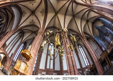 WETZLAR, GERMANY - JULY 3, 2014: beautiful ceiling and hall in the dome in Wetzlar, Germany. Wetzlar Cathedral has been used by both Roman Catholics and Protestants since the 16th century.