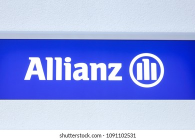 WETZLAR - GERMANY- March 25, 2018: Allianz Logo on Facade. Allianz is a European financial services company headquartered in Munich, Germany
