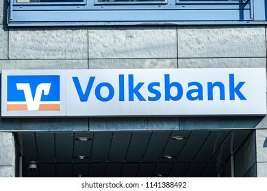 WETZLAR Germany - March 25, 2018: Sign with the logo of the german credit union Volksbank - Raiffeisenbank, Germany