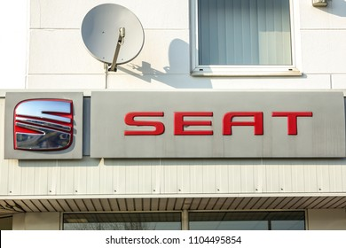 WETZLAR, GERMANY-MARCH 25, 2018: SEAT logo. SEAT is a Spanish automobile manufacturer with its head office in Martorell, Catalonia, Spain.