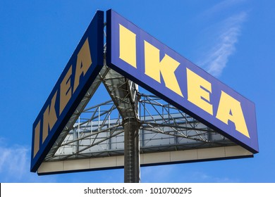 WETZLAR, HESSEN, GERMANY - June 2017 : Large IKEA Logo on a big Signboard. IKEA is a large furniture retailer and sells furniture ready to assemble. Founded in Sweden in 1943.