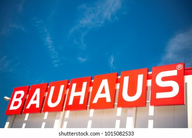 WETZLAR, HESSEN, GERMANY - June 2017 : Big BAUHAUS Logo on a BAUHAUS Market. Headquartered in Switzerland, Bauhaus is famous and one of the biggest chains of do it yourself stores all over Europe.