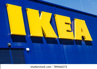 WETZLAR, HESSEN, GERMANY - June 2017 : Big IKEA Logo on a IKEA Market. IKEA is a large furniture retailer and sells furniture ready to assemble. Founded in Sweden in 1943.