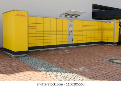 WETZLAR - MARCH 25, 2018: DHL Pack station. The chain of autonomous postal points for self-receipt and sending of postal parcels.