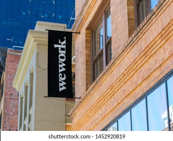 WeWork office shared coworking space building located in Silicon Valley tech hub - San Francisco, California, USA - July 12, 2019
