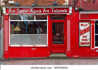 WEXFORD, IRELAND AUGUST 1, 2016: An Speir agus and Talamh public house. The name is Gaelic for the Sky and the Ground.