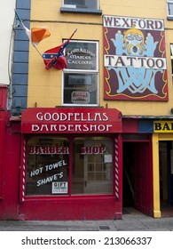 WEXFORD, IRELAND - AUGUST 5, 2012 : frontage of the Goodfellas barbershop on August 5, 2012 in Wexford, Ireland.