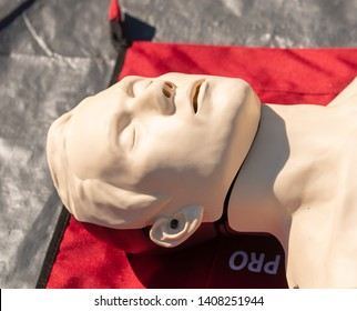Weybridge, UK. 12th May 2019. An anatomical manikin laying on the floor, which is being used by members of the public and medical professionals, for the training of CPR and resuscitation.