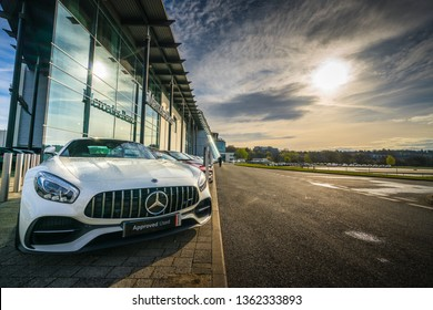 Weybridge,UK-April 4, 2019: Mercedes Benz AMG GTR approved used car on display at Mercedes Benz world in Brooklands,Weyridge