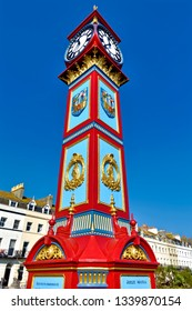 Weymouth, Dorset, UK - October 10 2018: The Grade II listed Jubilee Clock Tower on the Esplanade to commemorate the Golden jubilee of Queen Victoria
