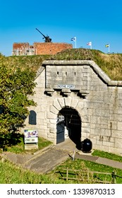 Weymouth, Dorset, UK - October 10 2018: The Grade II listed Nothe Fort and outer gateway