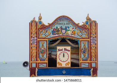 Weymouth Dorset United Kingdom 21 July 2019  -:  Traditional Punch and Judy show booth on beach