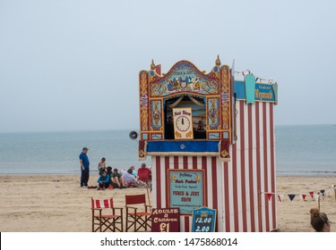 Weymouth Dorset United Kingdom 21 July 2019  -:  Traditional Punch and Judy show on beach
