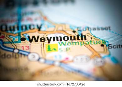 Weymouth. Massachusetts. USA on a geography map