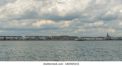 Weymouth Skyline E, view from the sea, May 2019 Dorset England