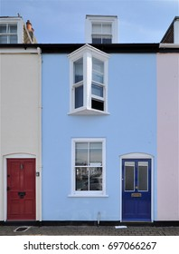 WEYMOUTH, UK - JUNE 3, 2017. An old small townhouse at Weymouth, in the county of Dorset, on the the south coast of England, UK.