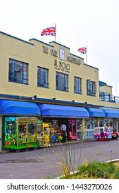 Weymouth,Dorset / England - 6/24/2019:The Pier Bandstand is an Art Deco bandstand built 1938/39. Now occupied as an Italian Restaurant Al Mola.