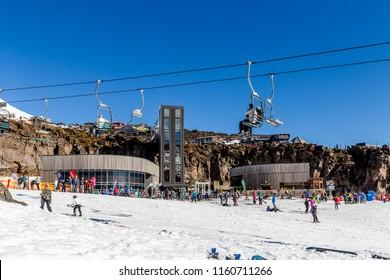 Whakapapa, New Zealand - August 12, 2018: Skiiers on Happy Valley at Whakapapa Ski Field in New Zealand.