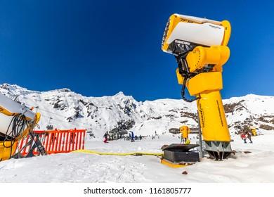 Whakapapa, New Zealand - August 12, 2018: Skiiers on the Rockgarden at Whakapapa Ski Field in New Zealand.