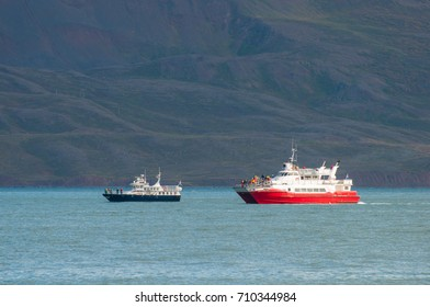 Whale Watching boats in Eyjafjordur Iceland