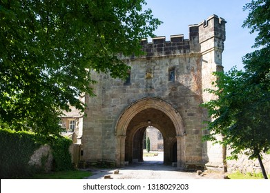 Whalley, Lancashire, United Kingdom - June 24th 2018: Whalley Abbey gatehouse, the ancient entrance to the ruins of a ruined abbey