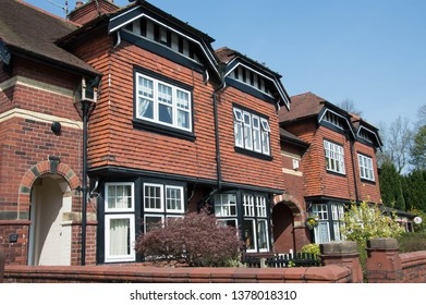 Whalley, Lancashire/UK - April 20th 2019: terraced housing from the Edwardian period