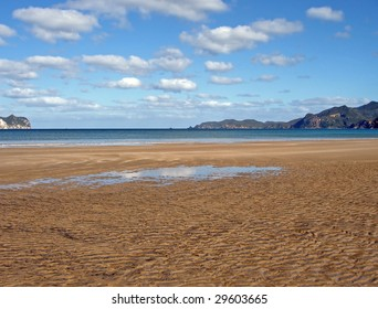 Whangapoua Beach at Low Tide, Great Barrier Island, New Zealand