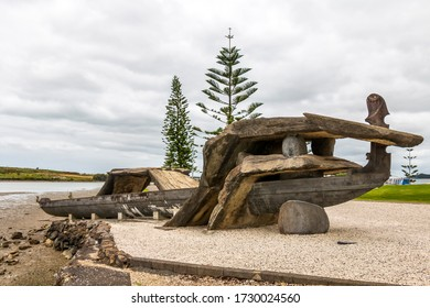 Whangarei, New Zealand - November 29, 2019: 'Waka and Wave' at Hihiaua Point, at the entrance to the Whangarei Town Basin in New Zealand.