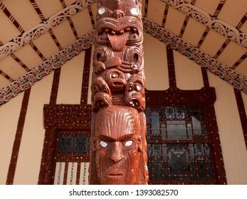 Wharenui or Maori meeting house, Tamatekapua Marae, Ohinemutu, Te Arawa tribe, Rotorua, Rotorua District, New Zealand.