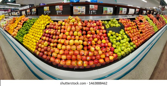 WHARTON, NJ, USA - JULY 28, 2019: Shelves with fresh fruits in a Shoprite supermarket. ShopRite consists of over 296 stores coordinated by Wakefern Food Corporation