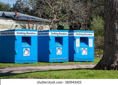 WHARTON, TEXAS, FEBRUARY 2017: Clothing donation drop boxes in Wharton, Texas