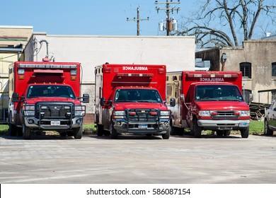 WHARTON, TX, FEBRUARY 2017: Three ambulances in Wharton, Texas