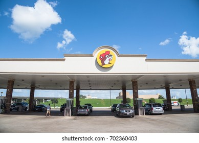 "WHARTON, TX-AUG 16, 2017:Buc-ee's gas station car re-fueling, a chain of convenience stores gas, food, drink in Texas, US. Owned by Arch ""Beaver"" Aplin III and Don Wasek, headquarters in Lake Jackson"