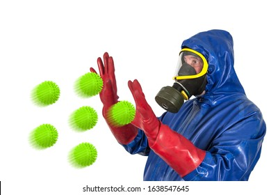 What is the best way to protect yourself against flu viruses? A man in a rubber protective suit, with a protective mask and rubber gloves is attacked by oversized flu viruses.