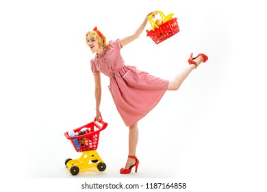What do you think about this. Young and carefree. After day shopping. big sale in shopping mall. vintage woman go happy retro woman go shopping. shopping in mall with products. savings on purchases.