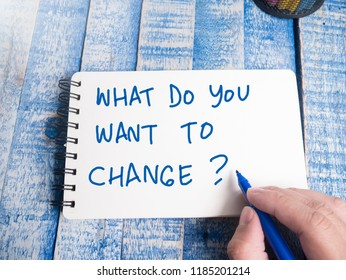 What do You Want to Change words letter, written on paper, work desk top view. Motivational business typography quotes concept