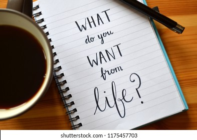 WHAT DO YOU WANT FROM LIFE? written in notebook on wooden desk with cup of coffee and pen