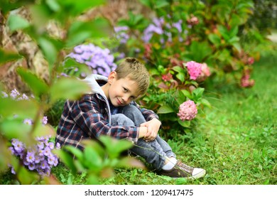 What to expect. Small boy relax in garden. Small boy expecting something. Live in the very soul of expectation of better things. Where expectation and reality meet.